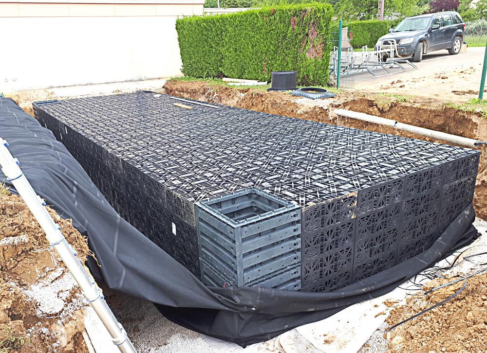 Arbois – Création d'un bassin de rétention temporaire pour les eaux de lavage de la piscine – Travaux réalisés en 2018